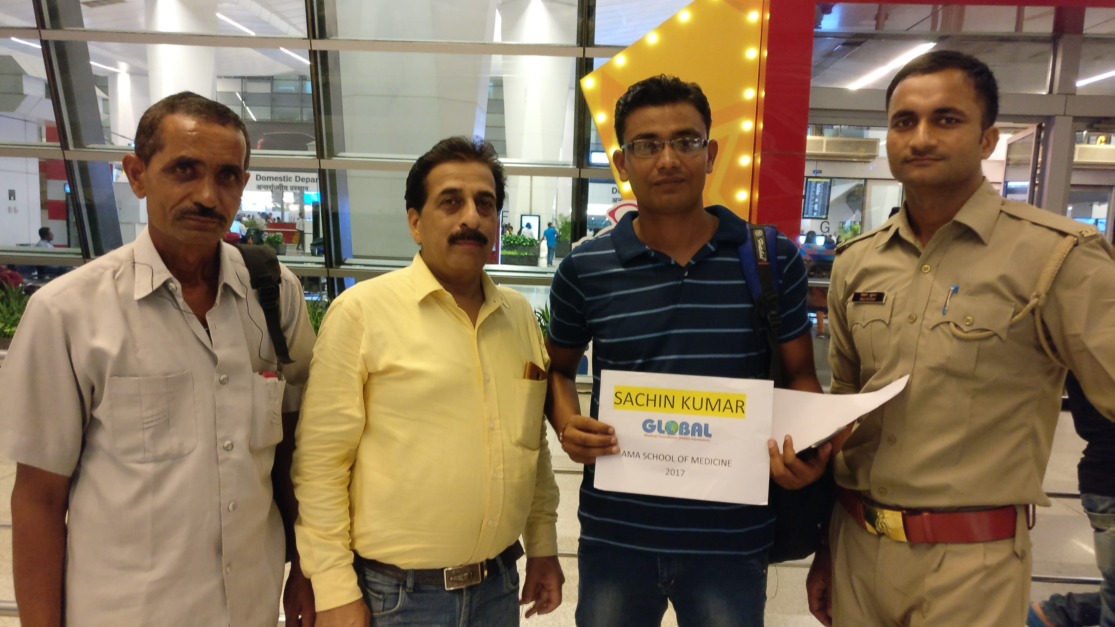 Student going for MBBS in Philippines, assisted by the MD of Global Medical Foundation-Pradeep Jayaswal at IGI T3 Airport, Delhi.