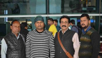 Pradeep Jayaswal of Global Medical Foundation seeing off students for Asian Medical Institute, Kyrgyzstan.
