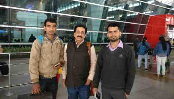Pradeep Jayaswal of Global Medical Foundation seeing off students for Asian Medical Institute.