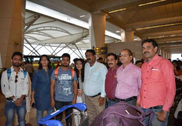 Pradeep Jayaswal (3rd from right) with students and their parents. The students is leaving for Vinnitsa National Medical University, MBBS in Ukraine.