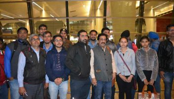 Pradeep Jayaswal (middle) with a batch of students sent by Global Medical Foundation for MBBS in the Philippines.
