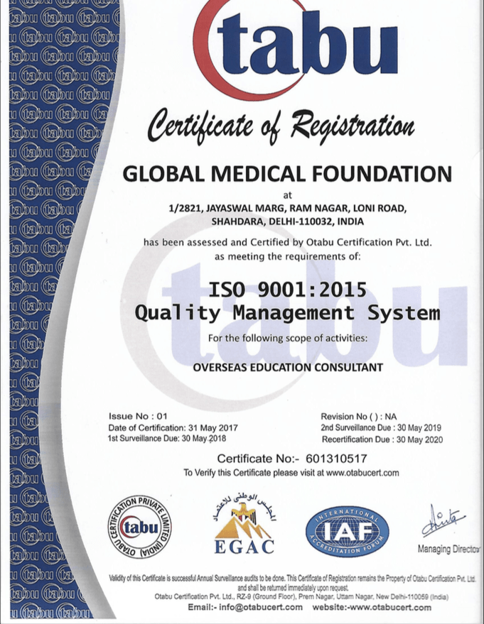 Global Medical Foundation- ISO Certified Company