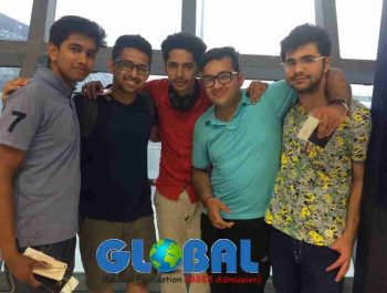 Shobhit Jayaswal of Global Medical Foundation (2nd from left) along with students at the Ninoy Aquino International Airport in the Philippines.