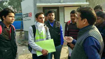 Pradeep Jayaswal giving final instruction to students for Visa interview outside the Philippines Embassy in Delhi.