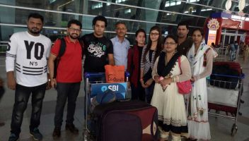 Shobhit Jayaswal of Global Medical Foundation (2nd from left) seeing off students going to study in Kyrgyz State Medical Academy, Kyrgyzstan.
