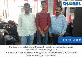 Student sent by Global Medical Foundation to Asian Medical Institute, Kyrgyzstan.