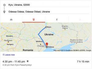 Train from Kiev to Odessa