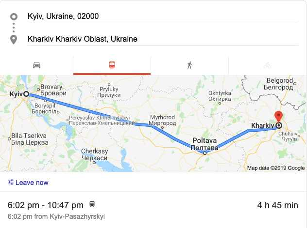 Kyiv to Kharkiv