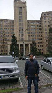 Pradeep Jayaswal at the campus of VN Karazin Kharkiv National Medical University.