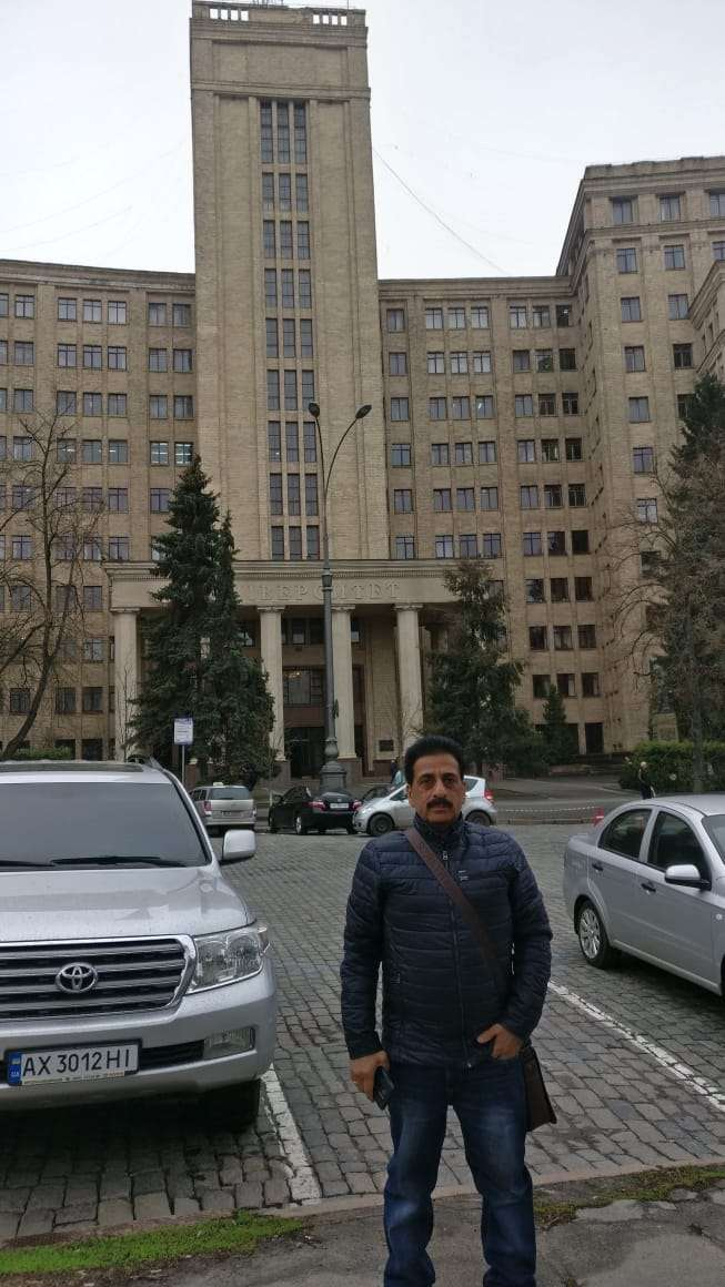 Pradeep Jayaswal at the campus of VN Karazin Kharkiv National Medical University.