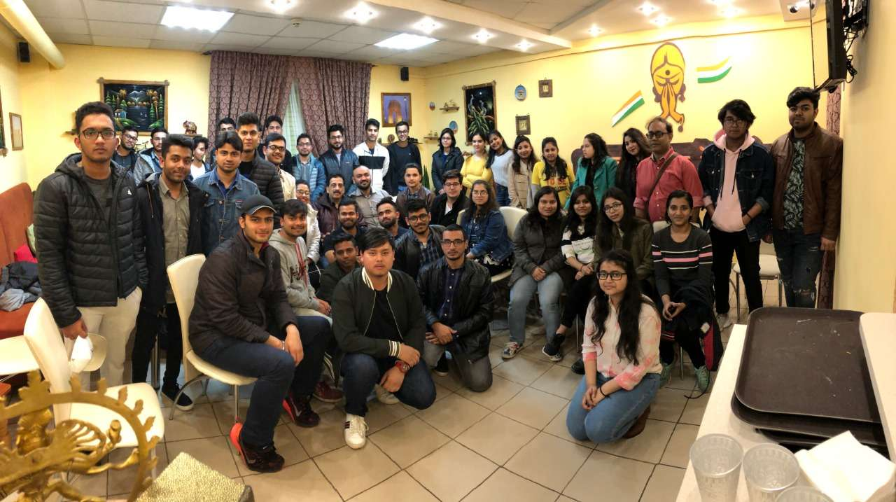 Pradeep Jayaswal with Indian students sent by GMF to Vinnitsa National Medical University, Ukraine.