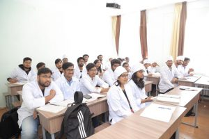Indian students at at Kyrgyz State Medical Academy