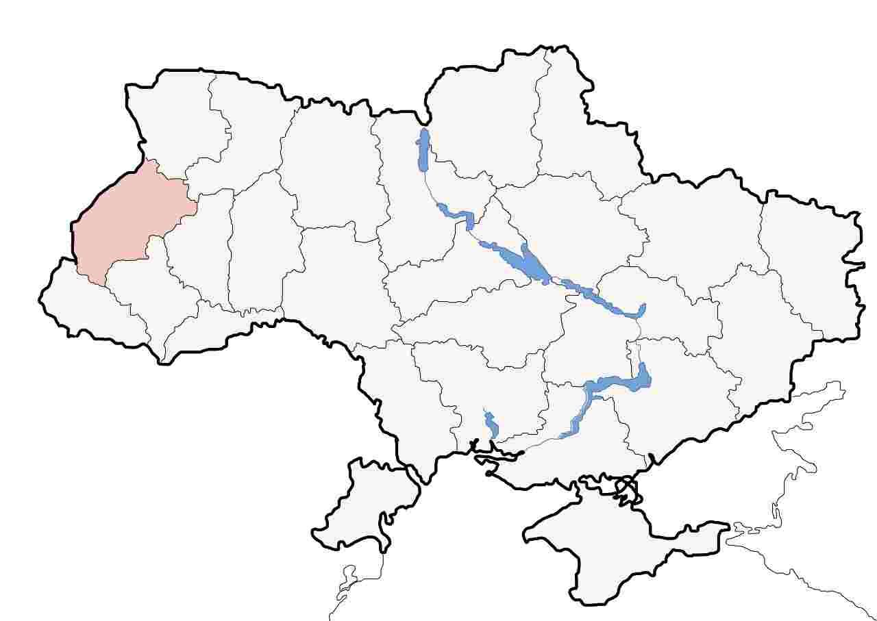 Lviv on Ukraine map
