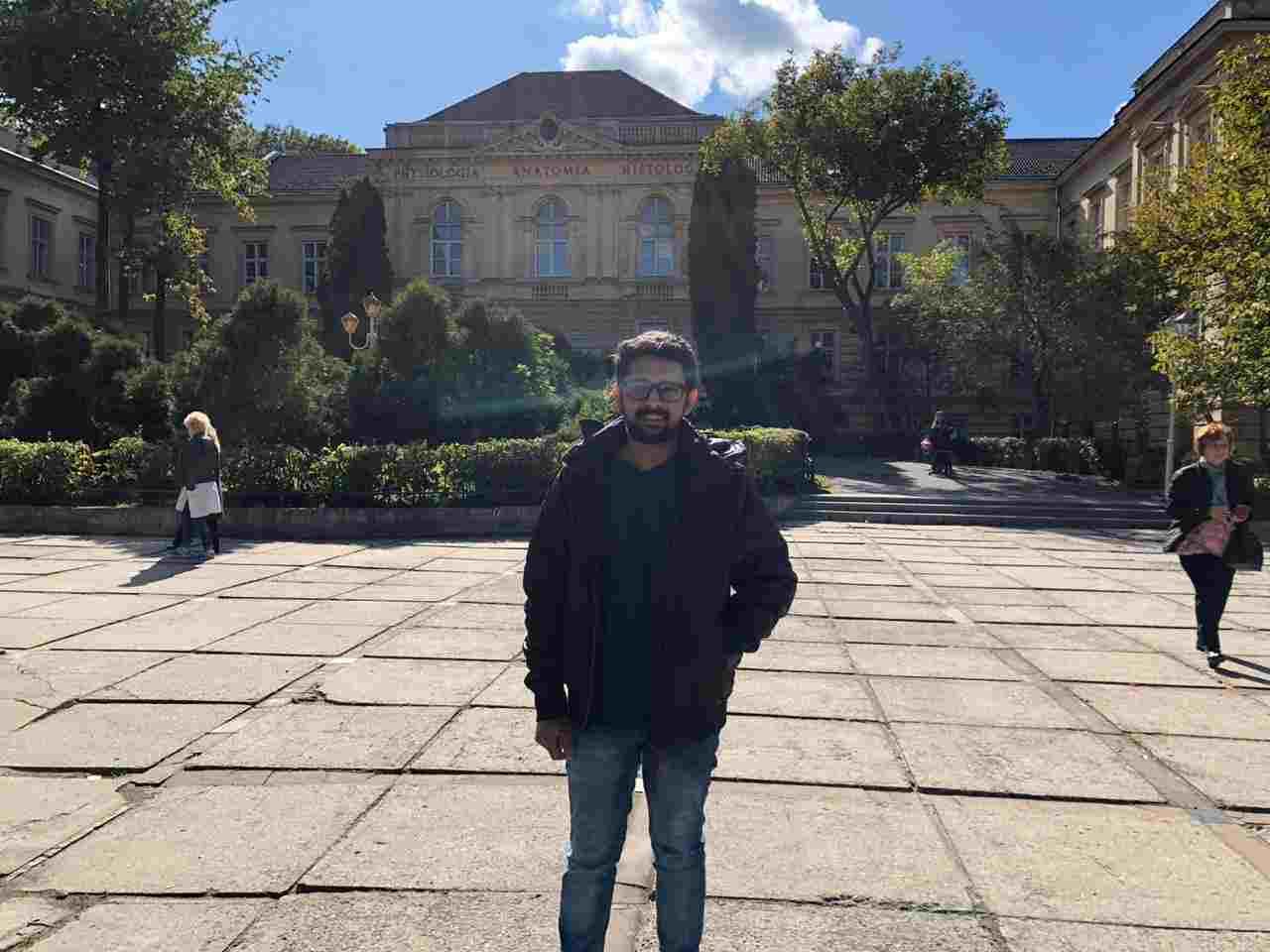 Shobhit Jayaswal at the campus of Lviv National Medical University