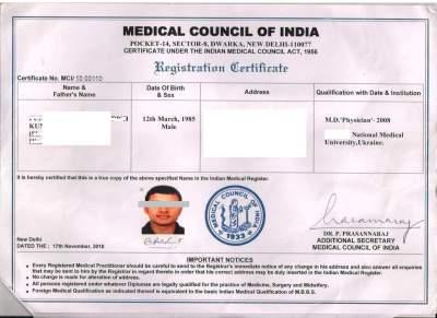 MCI registration certificate. Information on Ukraine MBBS degree.