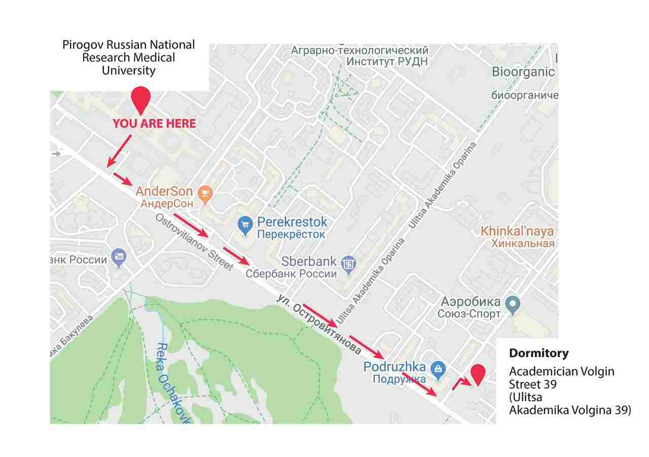 A map which shows the directions through red coloured arrows from the campus of Russian National Research Medical University to the hostel provided to the students.